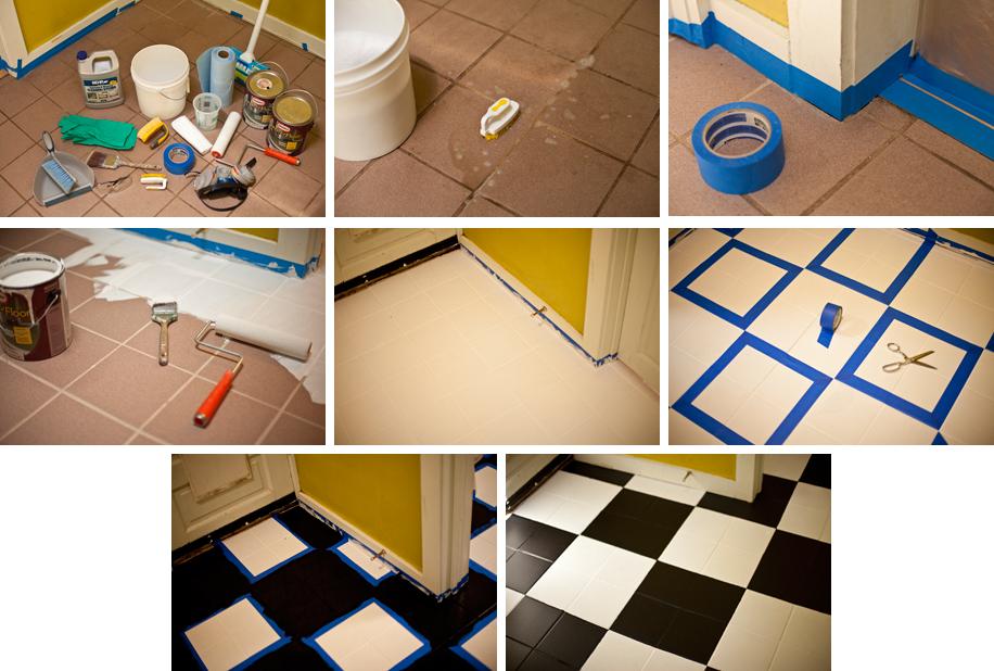 Fa a o seu piso xadrez a casa que a minha v queria - Como pintar sobre azulejos ...