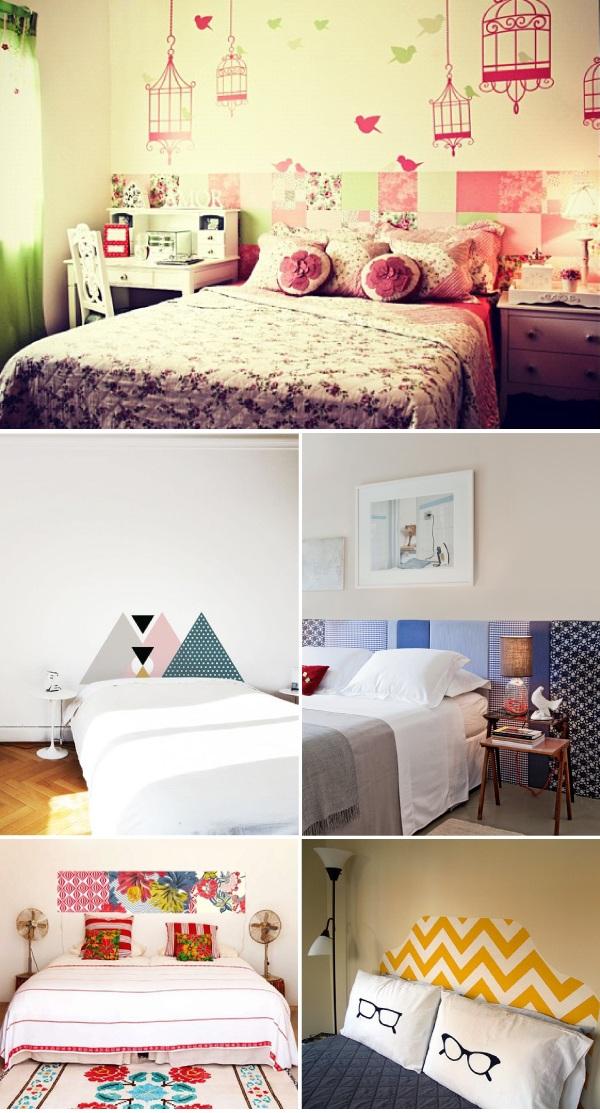 cabeceira de cama com tecido na parede