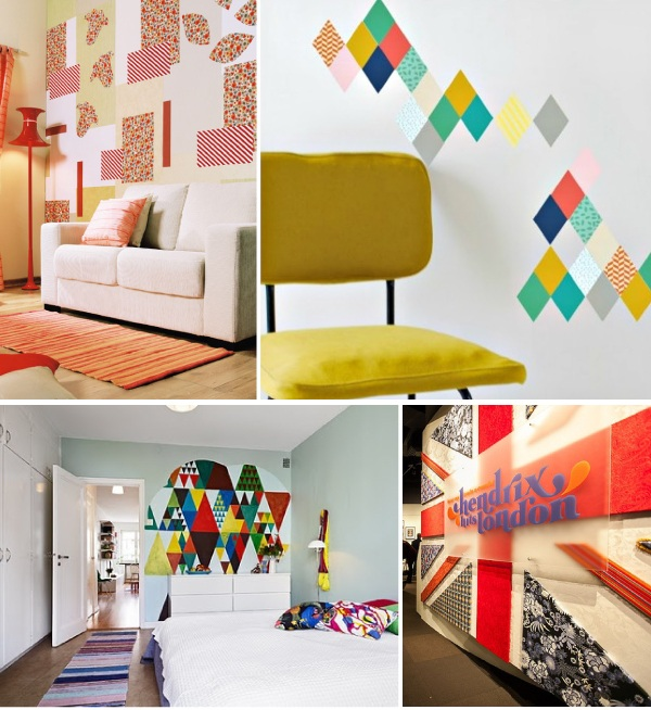geometria na parede com tecido