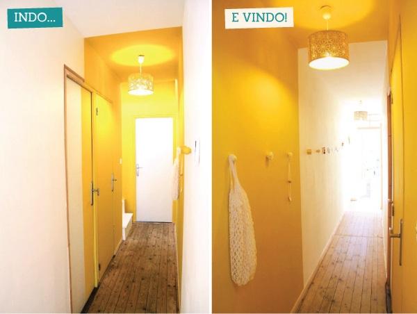 Corredor iluminado mudando somente as cores da parede a for Como elegir pintura para casa