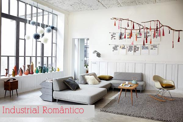 Estilo industrial romântico