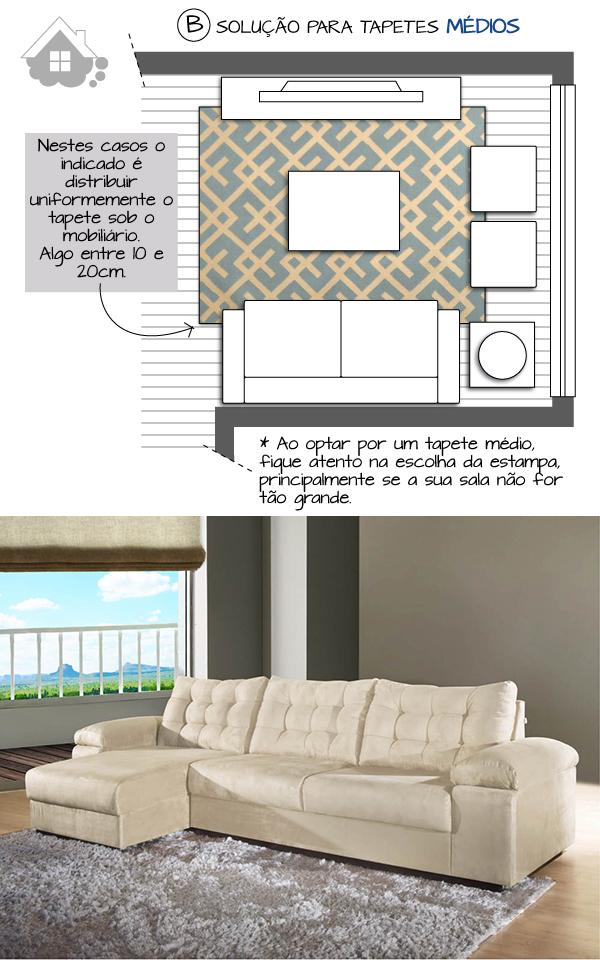 Tamanho Tapete Sala De Tv ~ disposição do tapete e dos móveis na sala de estar  ZetaPlus