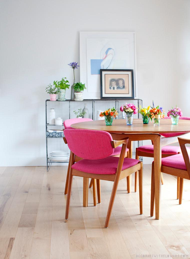 9 ideias para decorar o centro de mesa a casa que a for Sillas tapizadas estampadas