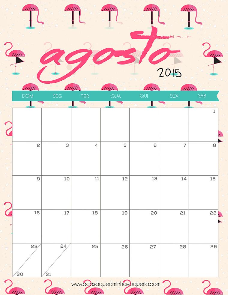 Freebie Calendario Agosto 2015 - A Casa Que a Minha Vó Queria